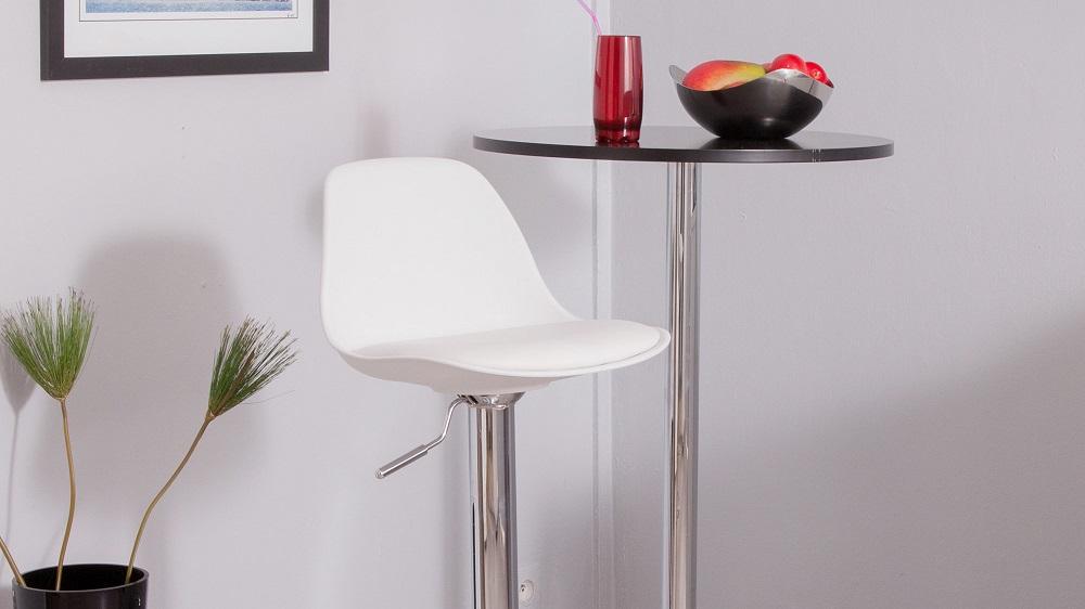 Tabouret de bar blanc avec dossier maison et mobilier d 39 int rieur for Tabouret cuisine avec dossier