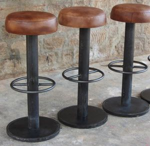 tabouret de bar industriel cuir maison et mobilier d. Black Bedroom Furniture Sets. Home Design Ideas