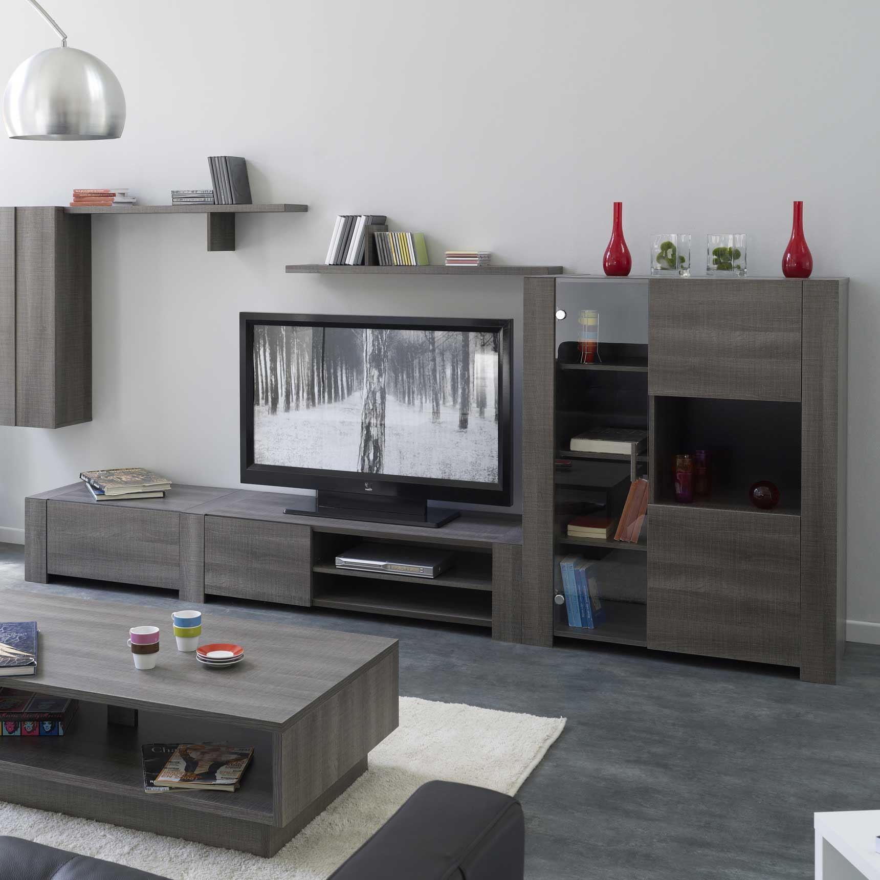 R Sultat Sup Rieur 50 Bon March Ensemble Meuble Tv Gris Galerie  # Meuble Tv Design Bois Cendre