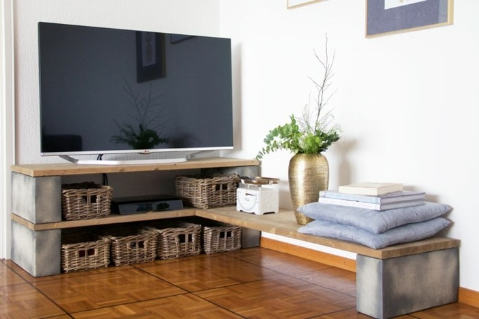 Meuble tv diy maison et mobilier d 39 int rieur - Construire meuble en bois ...