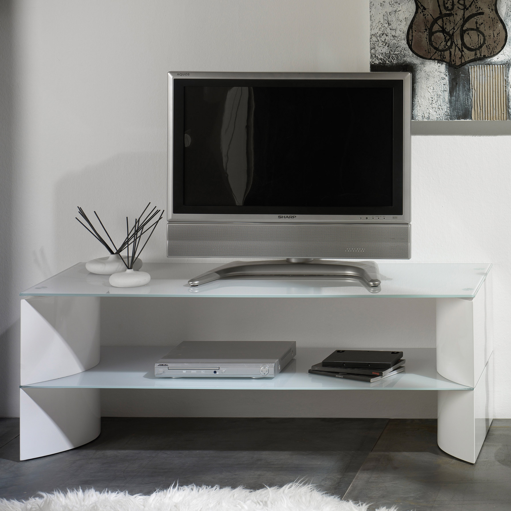 meuble tv blanc laqu 90 cm maison et mobilier d 39 int rieur. Black Bedroom Furniture Sets. Home Design Ideas