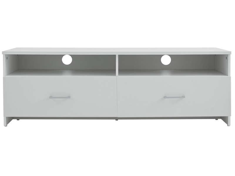 Meuble tv 2 tiroirs sergio coloris blanc maison et for Meuble tv blanc tiroir