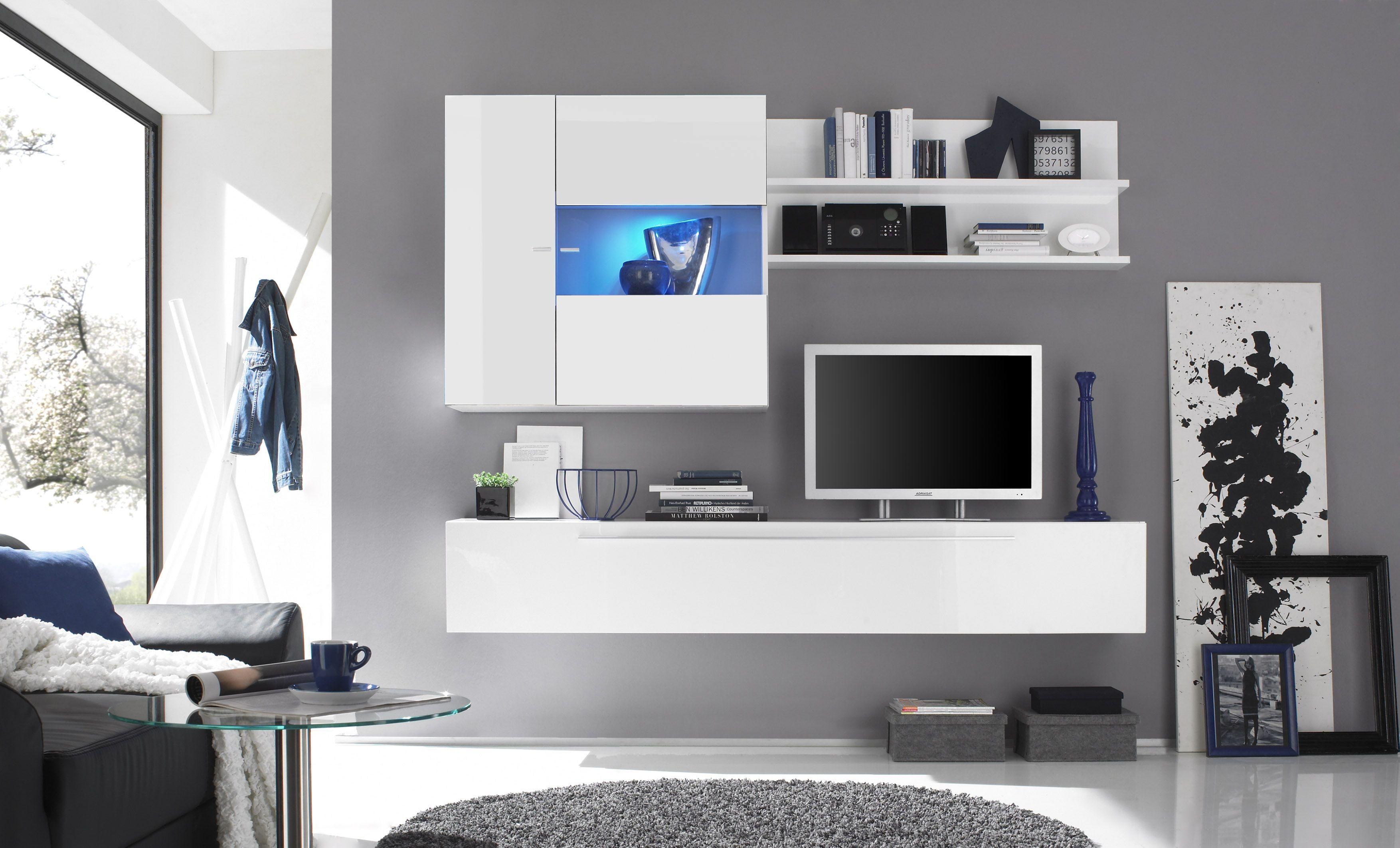 meuble tv mural - Meuble Tv A Led Blanc Laque Tron