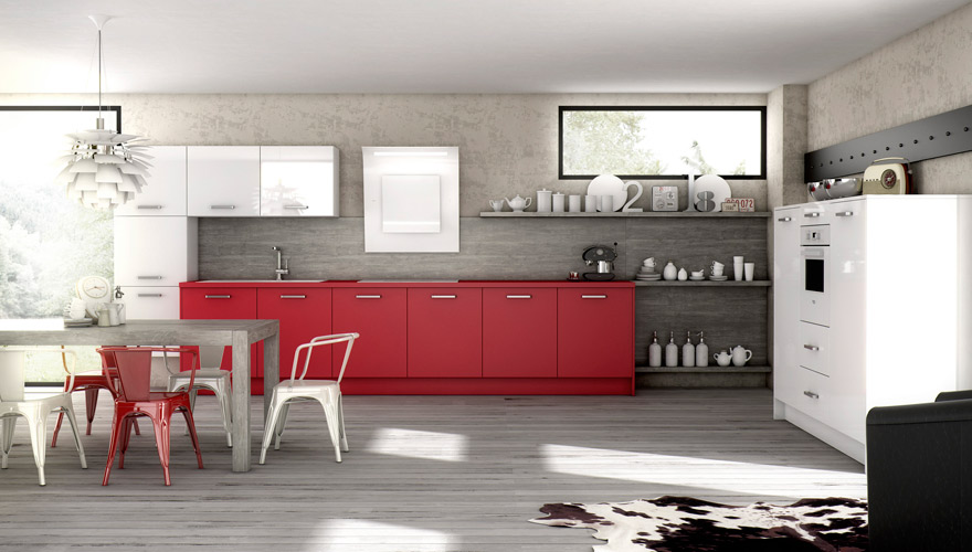 meuble de cuisine rouge et blanc maison et mobilier d 39 int rieur. Black Bedroom Furniture Sets. Home Design Ideas