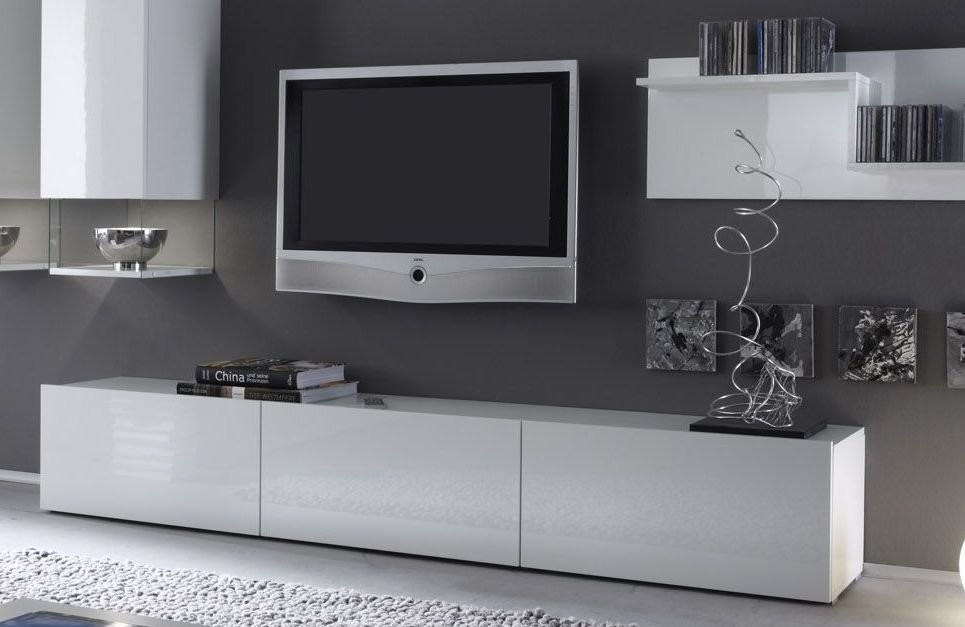 meuble tv blanc laqu suspendu. Black Bedroom Furniture Sets. Home Design Ideas