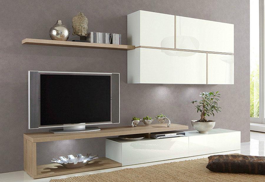 Meuble tv design blanc et bois maison et mobilier d for Meuble tele bois et blanc