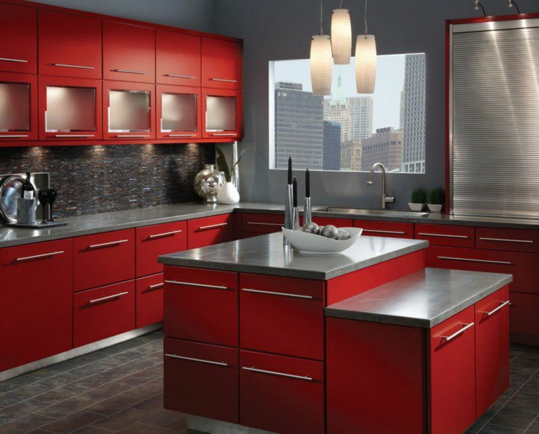 meuble cuisine rouge et gris maison et mobilier d 39 int rieur. Black Bedroom Furniture Sets. Home Design Ideas