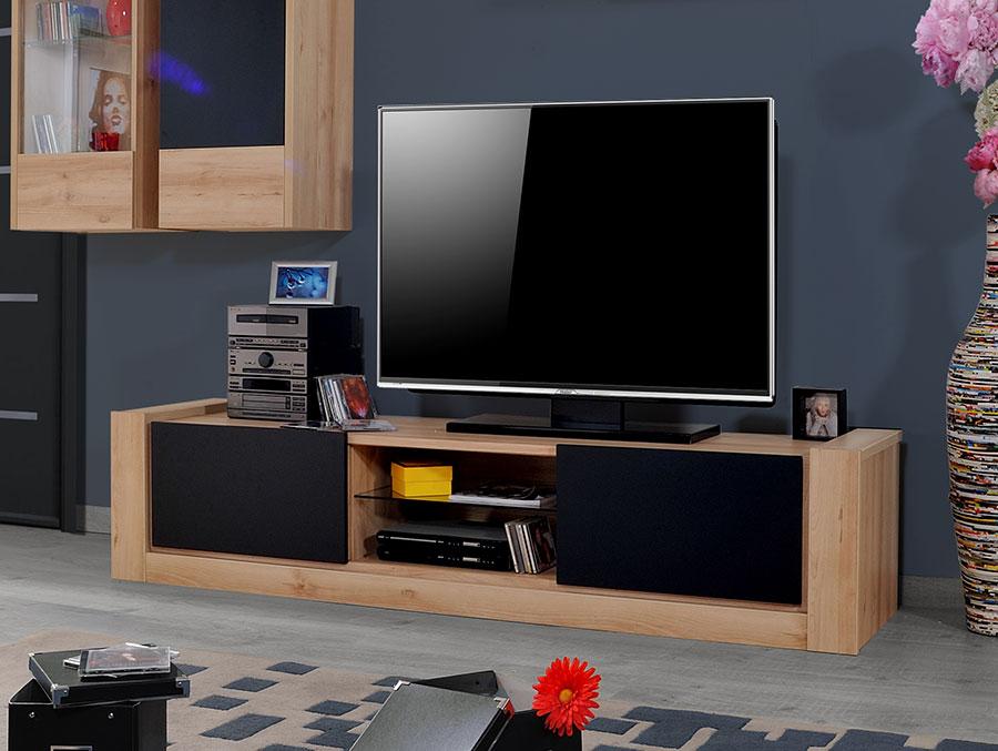 Meuble tv bois et noir Maison et mobilier d intérieur
