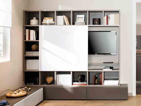 Meuble tv qui se cache maison et mobilier d 39 int rieur for Meuble qui cache la tv
