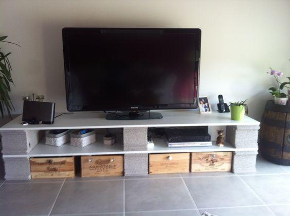 meuble tv parpaing maison et mobilier d 39 int rieur. Black Bedroom Furniture Sets. Home Design Ideas