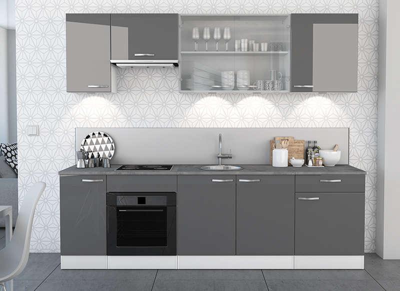 Meuble de cuisine gris laqu maison et mobilier d 39 int rieur for Meuble cuisine gris laque