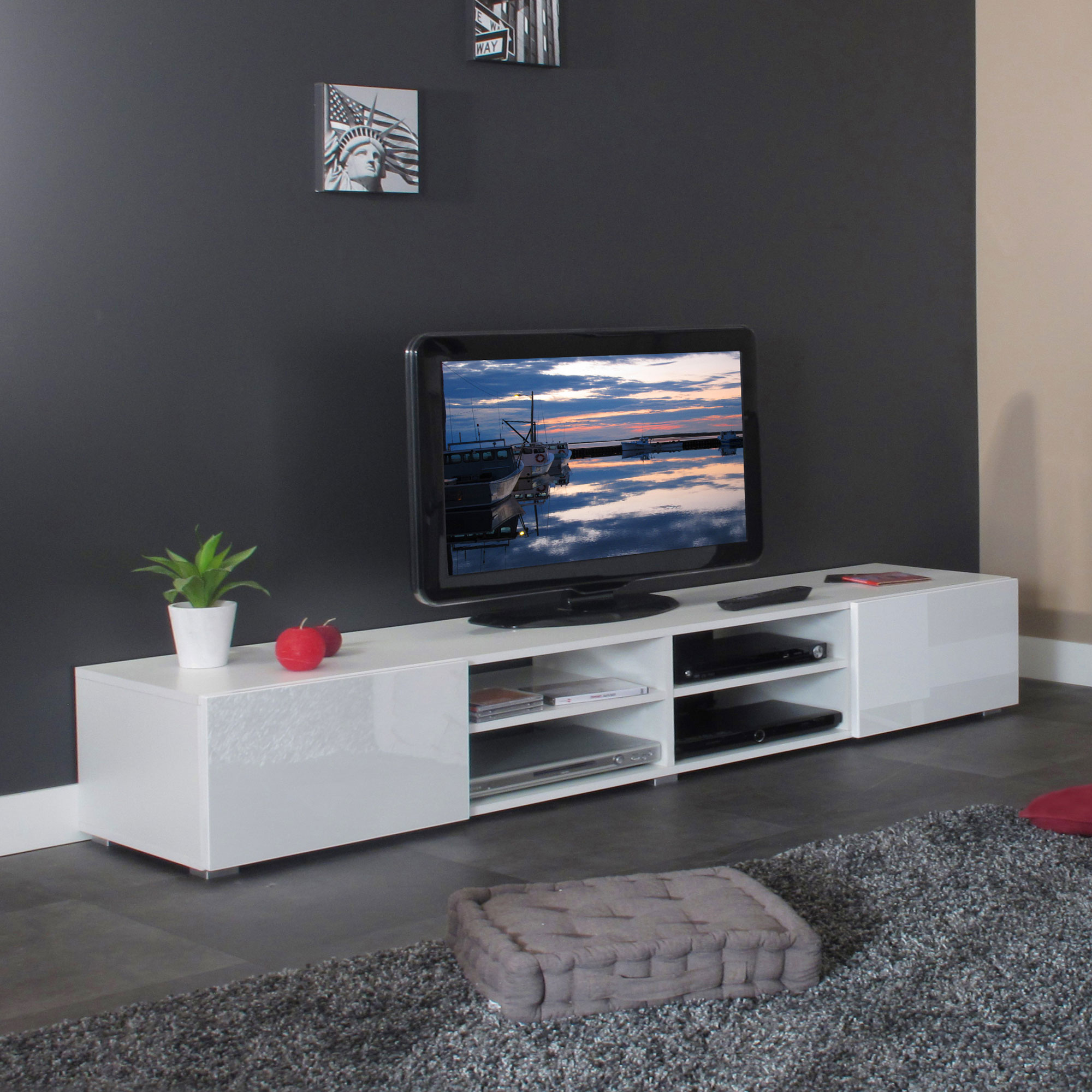 meuble tv 4 niches maison et mobilier d 39 int rieur. Black Bedroom Furniture Sets. Home Design Ideas