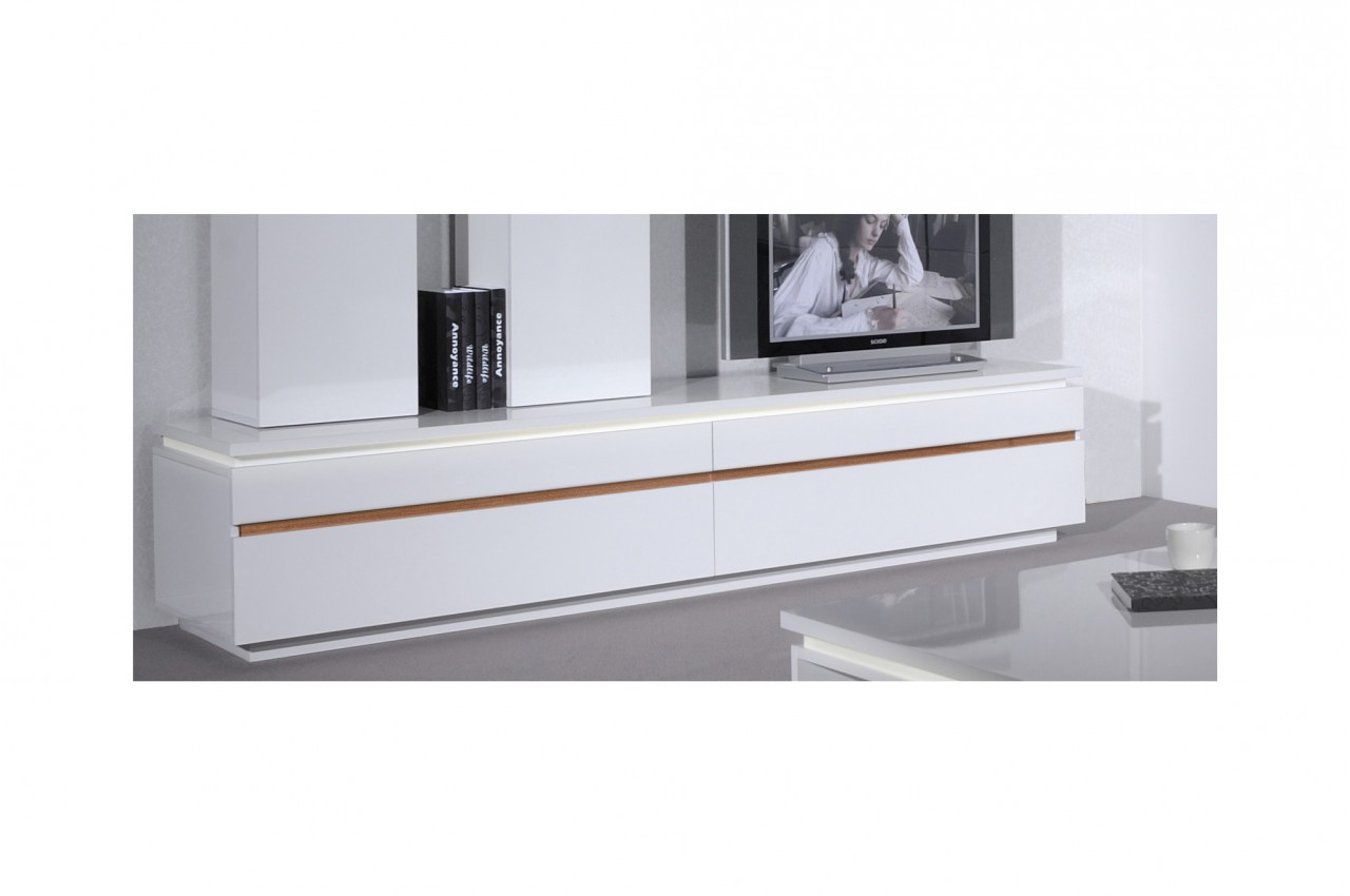 Meuble bas blanc tv maison et mobilier d 39 int rieur for Meuble tv bas long