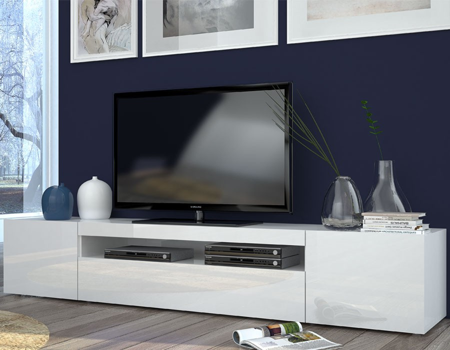 Meuble de tele blanc maison et mobilier d 39 int rieur for Meuble tv 2 metres