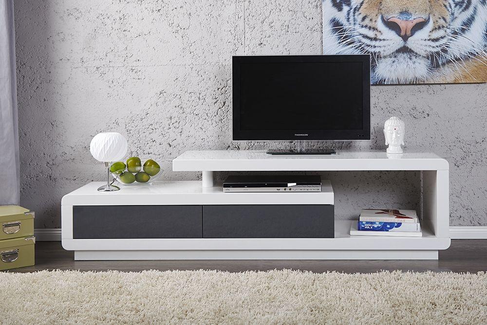 meuble tv 40 cm profondeur - Meuble Tv Design Blanc Et Gris