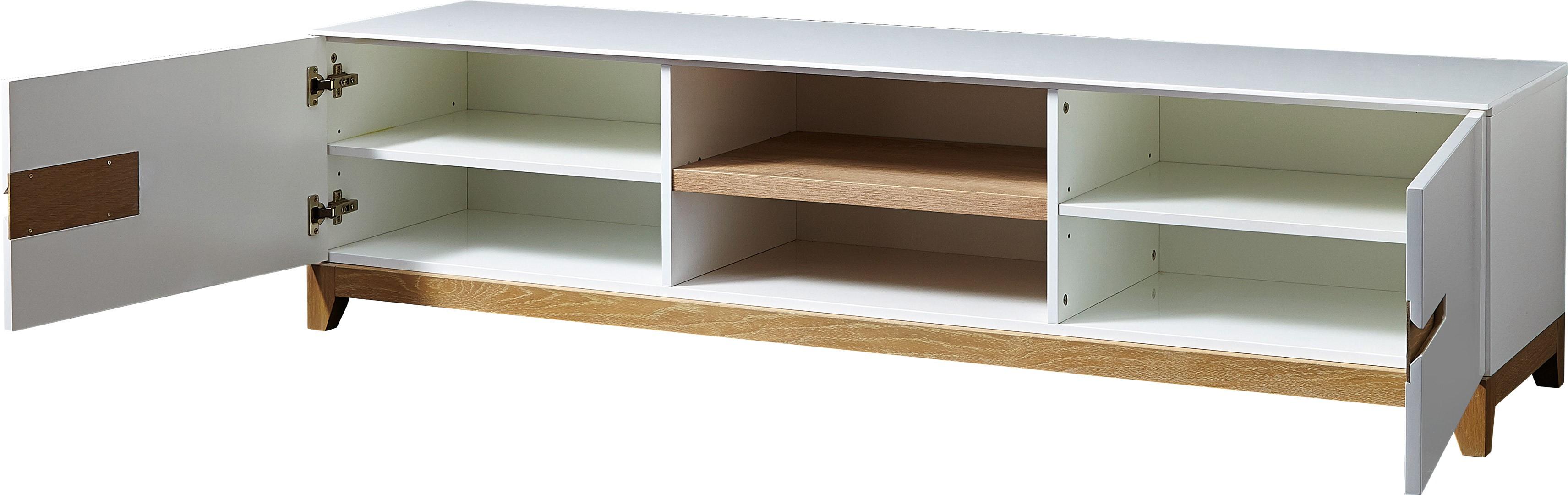 Meuble Tv Laque Blanc Et Chene Maison Et Mobilier D Int Rieur # Meuble Tv Blanc Et Bois Pas Cher