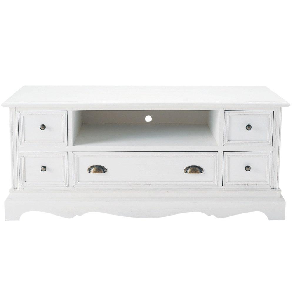 Meuble Tv En Bois Blanc Maison Et Mobilier D Int Rieur # Meuble Tv Bois Blanc