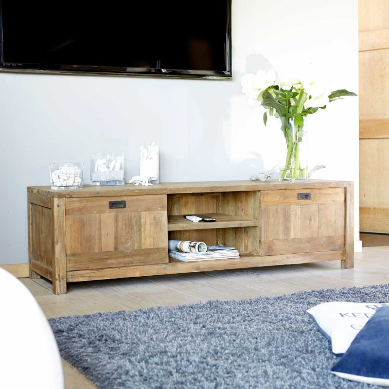 Meuble tv teck maison et mobilier d 39 int rieur - Meuble bois recycle pas cher ...