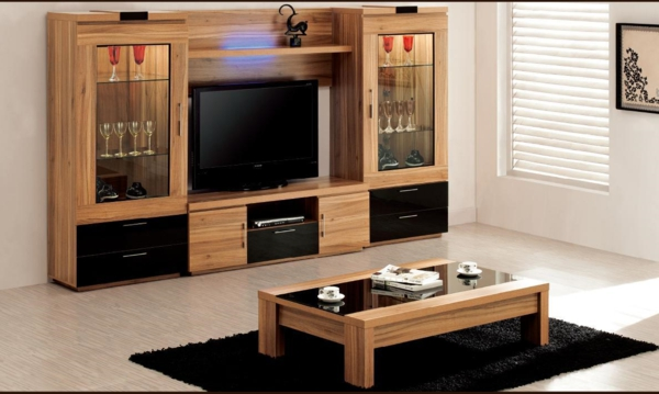 meuble en bois salon. Black Bedroom Furniture Sets. Home Design Ideas