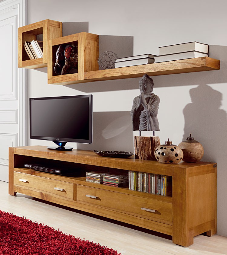 Meuble tv tag re murale maison et mobilier d 39 int rieur for Meuble tv avec etagere