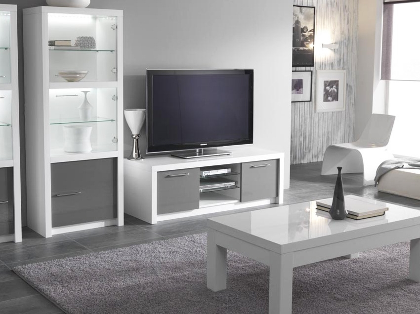 meuble tv gris et blanc maison et mobilier d 39 int rieur. Black Bedroom Furniture Sets. Home Design Ideas