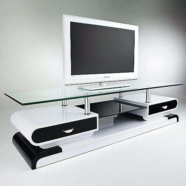 meuble tv noir et blanc laque. Black Bedroom Furniture Sets. Home Design Ideas