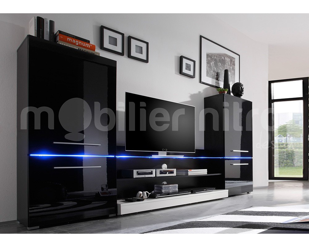 ensemble meuble tv noir laqu maison et mobilier d 39 int rieur. Black Bedroom Furniture Sets. Home Design Ideas