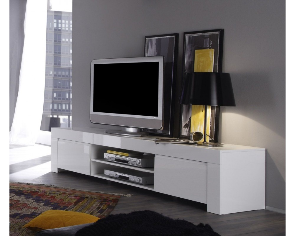 Meuble Tv 2 Portes Sydney Blanc Laqu Maison Et Mobilier D  # Meuble De Tv Blanc Laque
