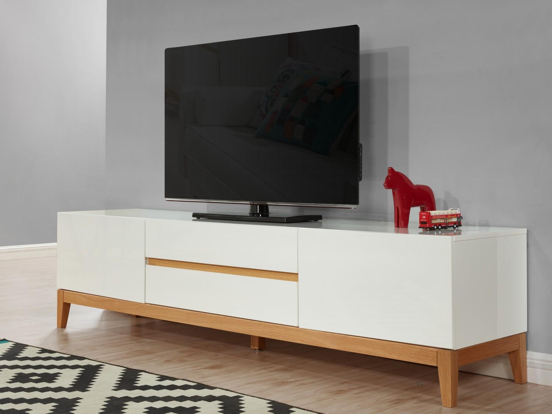 Meuble Tv Chene Et Blanc Laque Maison Et Mobilier D Int Rieur # Meuble Tv Chene Blanc