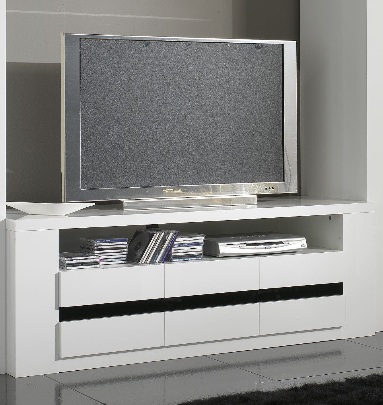 Meuble tv angle blanc for Solde meuble tv