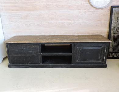 Meuble tv noir et bois Maison et mobilier d intérieur