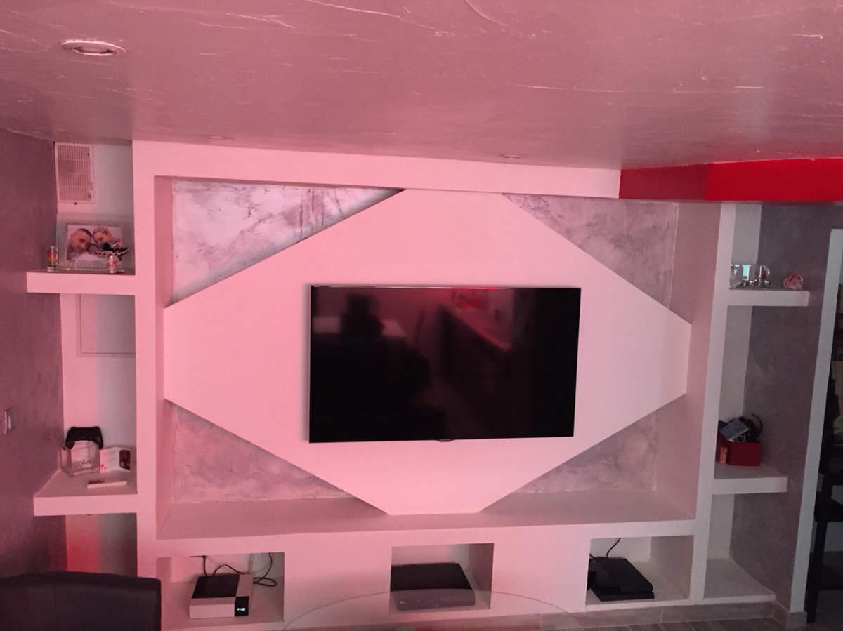 meuble tv en placo maison et mobilier d 39 int rieur. Black Bedroom Furniture Sets. Home Design Ideas