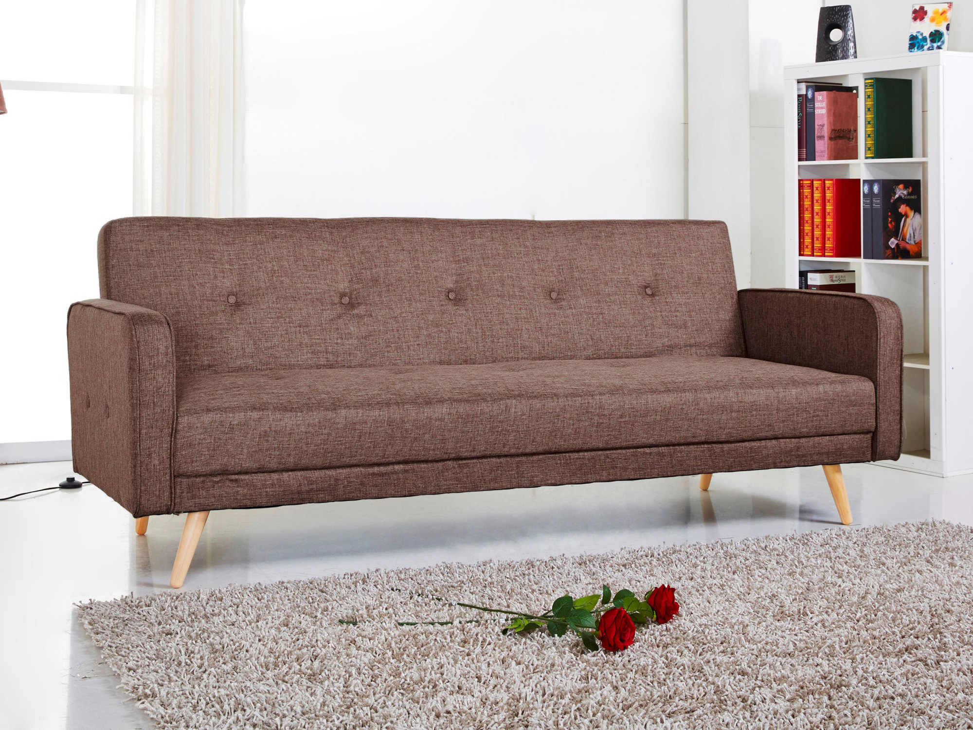 canap clic clac tissu 2 places pieds bois design lili maison et mobilier d 39 int rieur. Black Bedroom Furniture Sets. Home Design Ideas