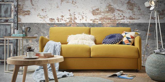 canap convertible jaune moutarde maison et mobilier d. Black Bedroom Furniture Sets. Home Design Ideas