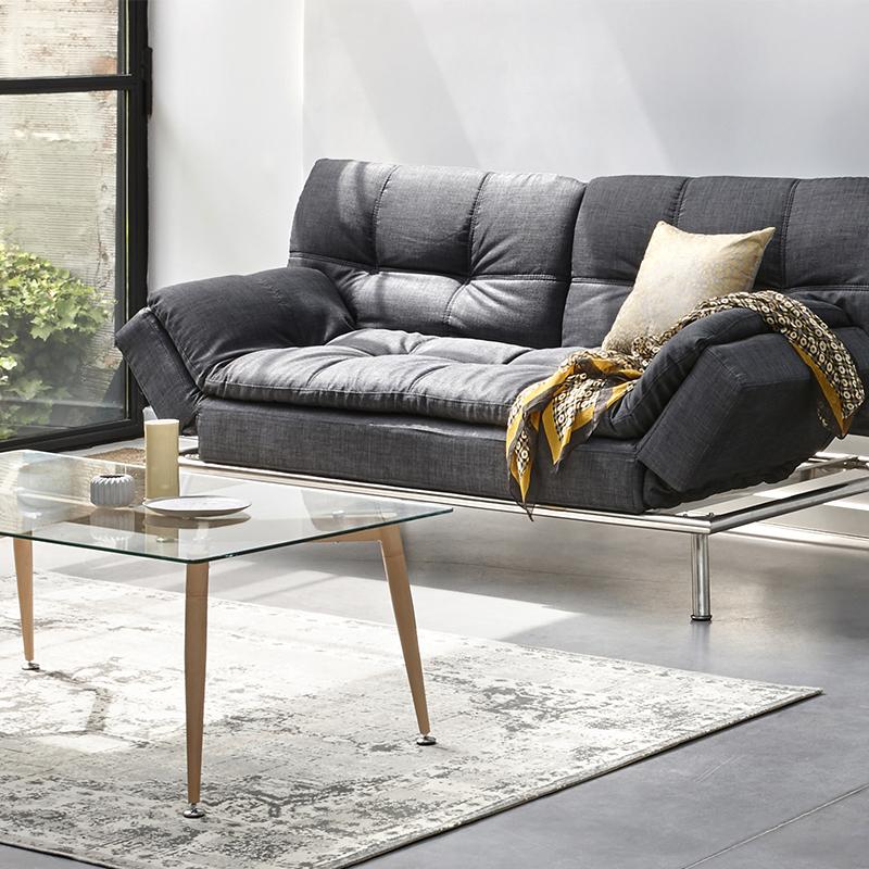 Lit métal transformé en canapé