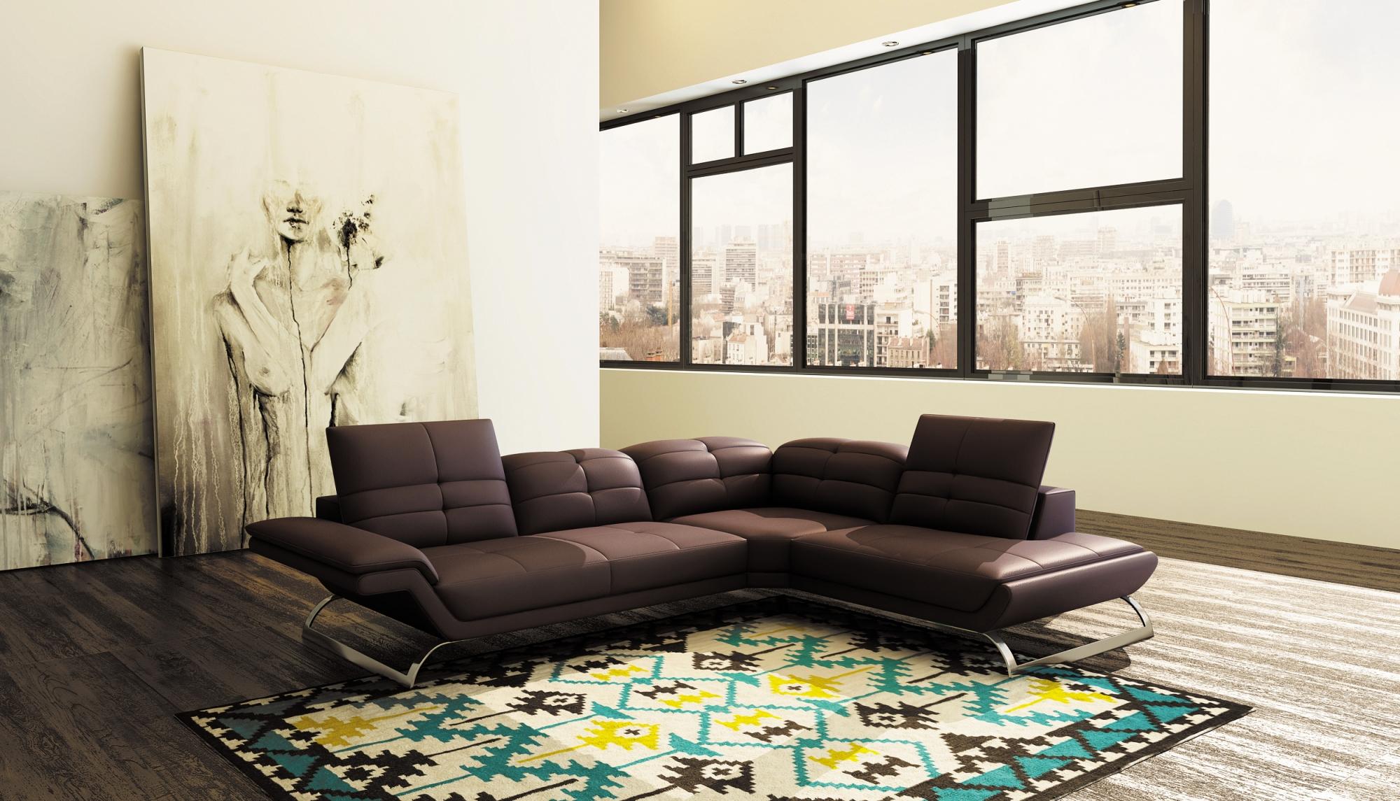 Canape panoramique cuir marron