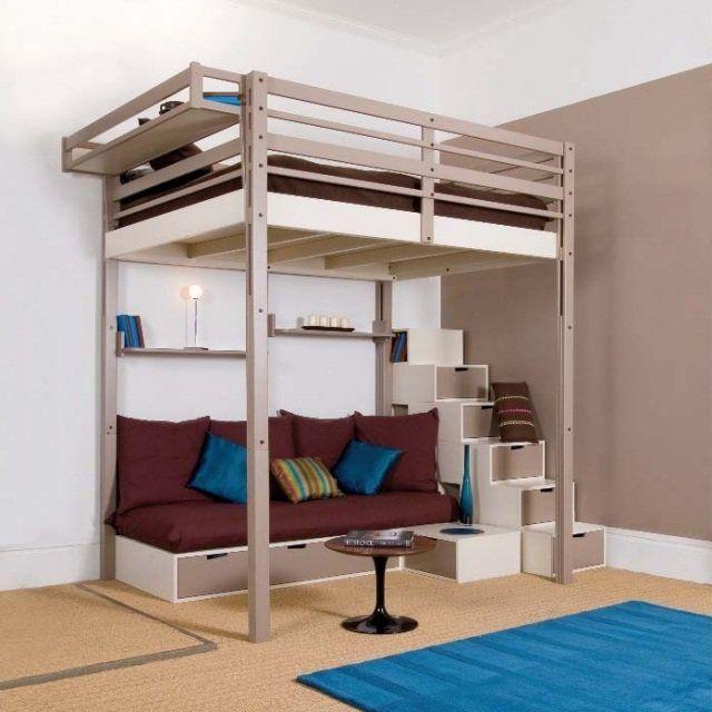 Lit mezzanine deux places avec canapé
