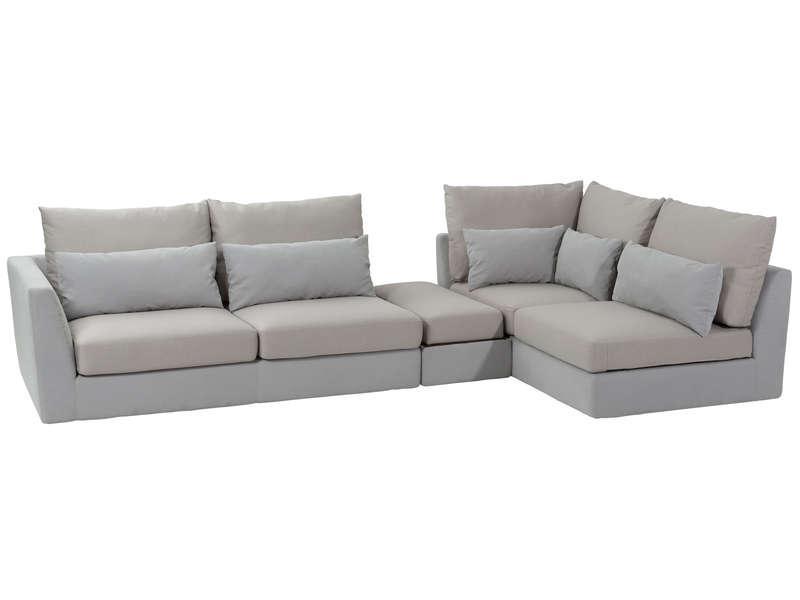 Canapé d'angle fixe droit 4 places salma coloris beige/galet