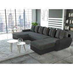 Canapé d'angle panoramique xxl design alia gris et noir angle droit tendencio