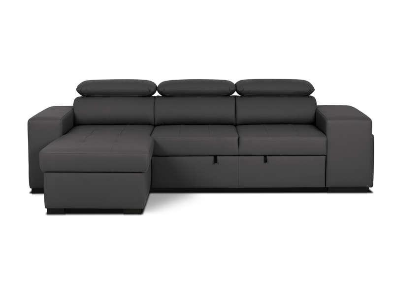 Canapé d'angle avec pouf intégré