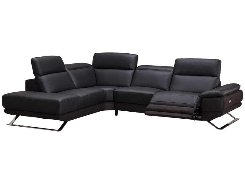 Canapé d'angle noir microfibre