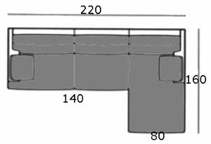 Canapé d'angle 220 cm