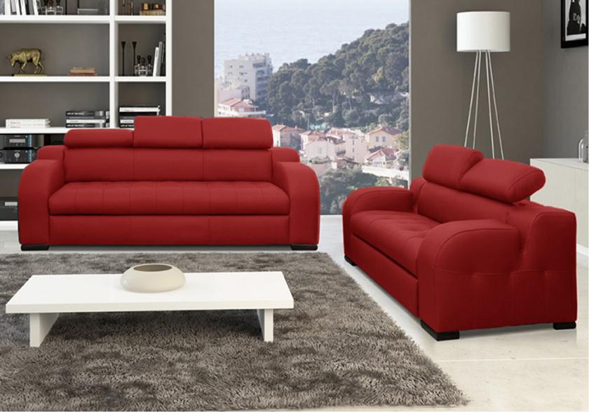 Canapé cuir rouge pas cher