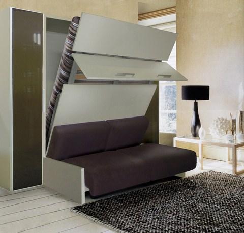 Lit escamotable avec canapé intégré