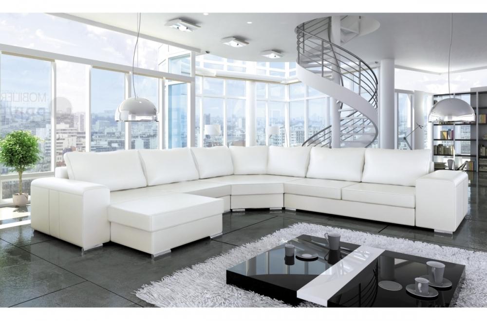 Canapé d'angle blanc simili cuir