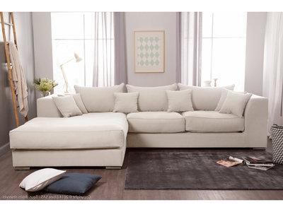Canapé d'angle velours beige