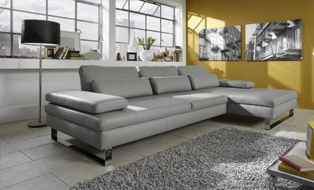 Canapé d'angle cuir gris anthracite