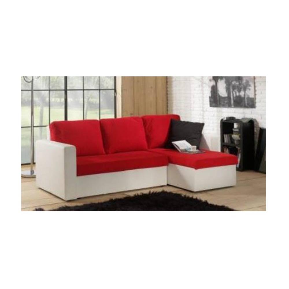 Canapé d'angle rouge et blanc