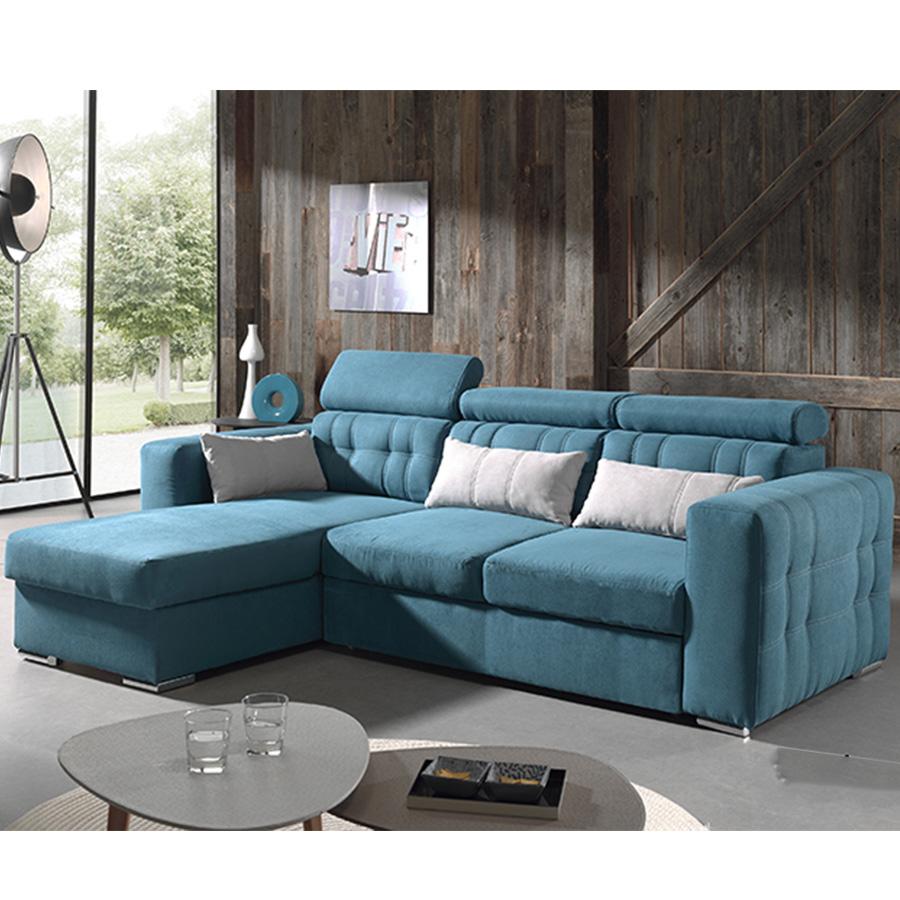 Canape d'angle tissu bleu