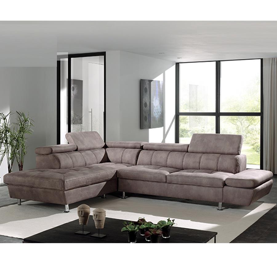 Canapé d'angle beige marron